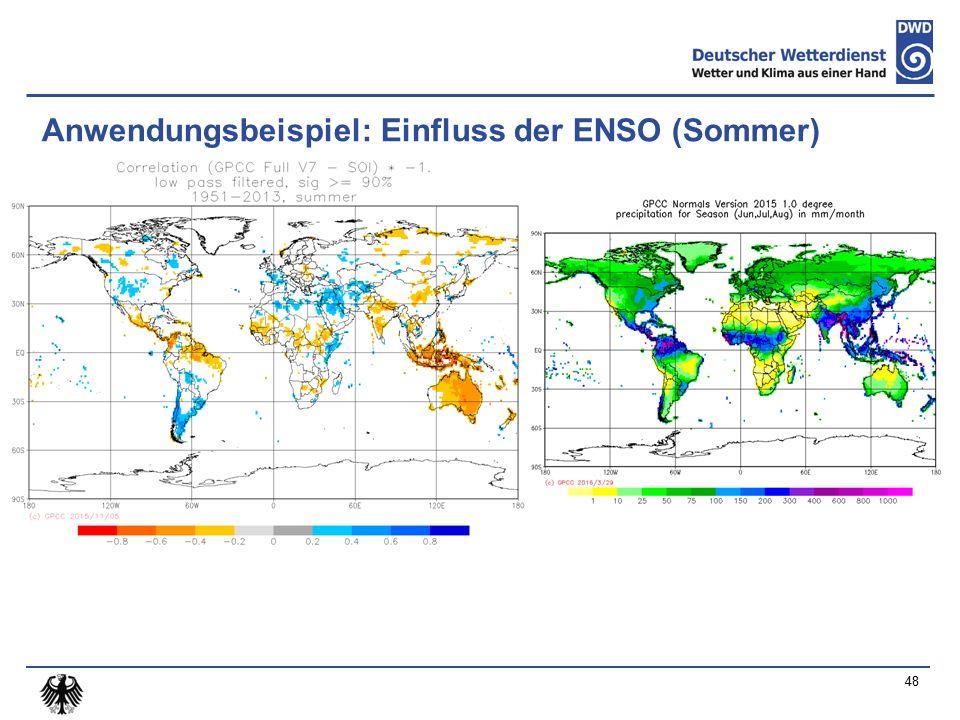 Anwendungsbeispiel: Einfluss der ENSO (Sommer) 48