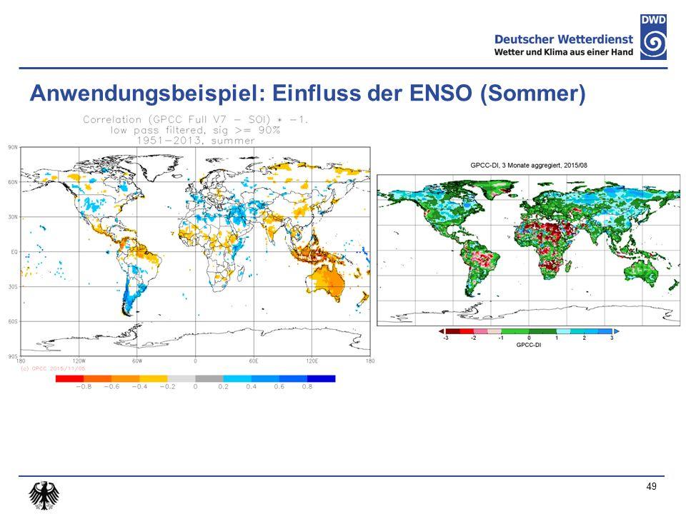Anwendungsbeispiel: Einfluss der ENSO (Sommer) 49