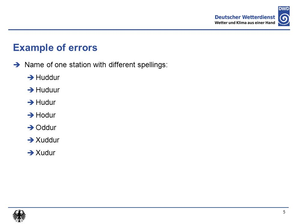 Example of errors  Name of one station with different spellings:  Huddur  Huduur  Hudur  Hodur  Oddur  Xuddur  Xudur 5