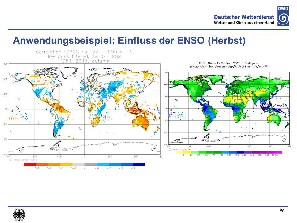 Anwendungsbeispiel: Einfluss der ENSO (Herbst) 50