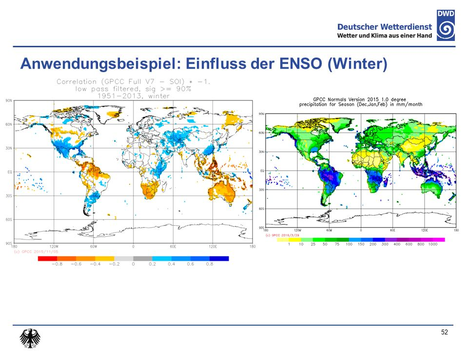 Anwendungsbeispiel: Einfluss der ENSO (Winter) 52