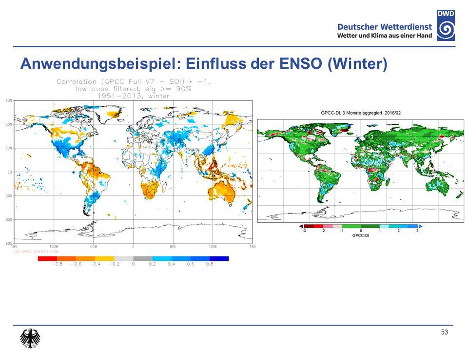 Anwendungsbeispiel: Einfluss der ENSO (Winter) 53