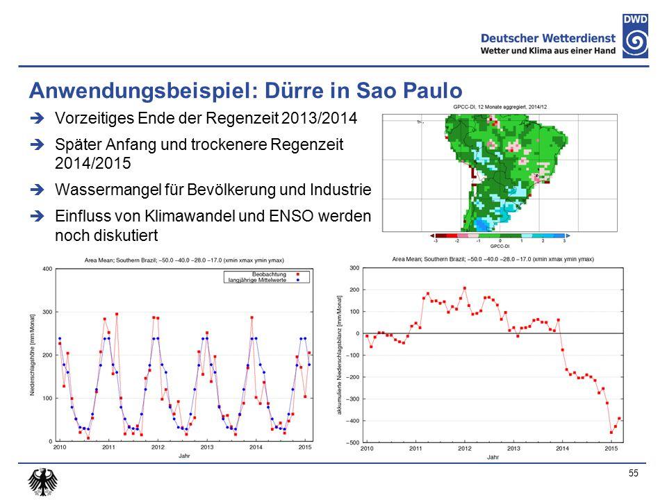 Anwendungsbeispiel: Dürre in Sao Paulo  Vorzeitiges Ende der Regenzeit 2013/2014  Später Anfang und trockenere Regenzeit 2014/2015  Wassermangel für Bevölkerung und Industrie  Einfluss von Klimawandel und ENSO werden noch diskutiert 55