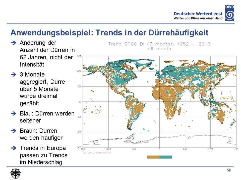 Anwendungsbeispiel: Trends in der Dürrehäufigkeit  Änderung der Anzahl der Dürren in 62 Jahren, nicht der Intensität  3 Monate aggregiert, Dürre über 5 Monate wurde dreimal gezählt  Blau: Dürren werden seltener  Braun: Dürren werden häufiger  Trends in Europa passen zu Trends im Niederschlag 56
