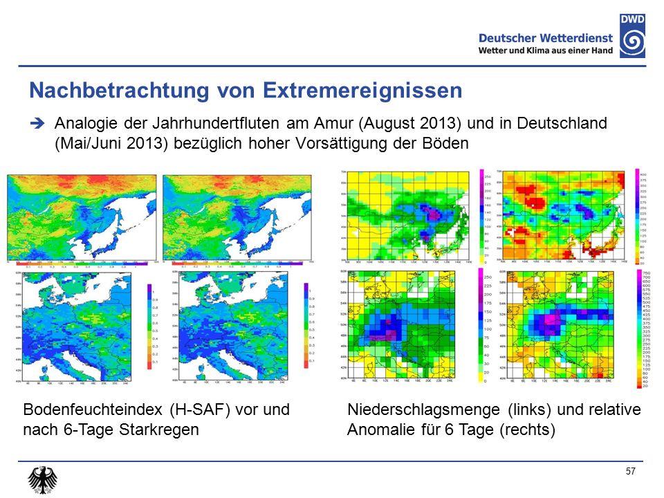 Nachbetrachtung von Extremereignissen  Analogie der Jahrhundertfluten am Amur (August 2013) und in Deutschland (Mai/Juni 2013) bezüglich hoher Vorsättigung der Böden 57 Bodenfeuchteindex (H-SAF) vor und nach 6-Tage Starkregen Niederschlagsmenge (links) und relative Anomalie für 6 Tage (rechts)
