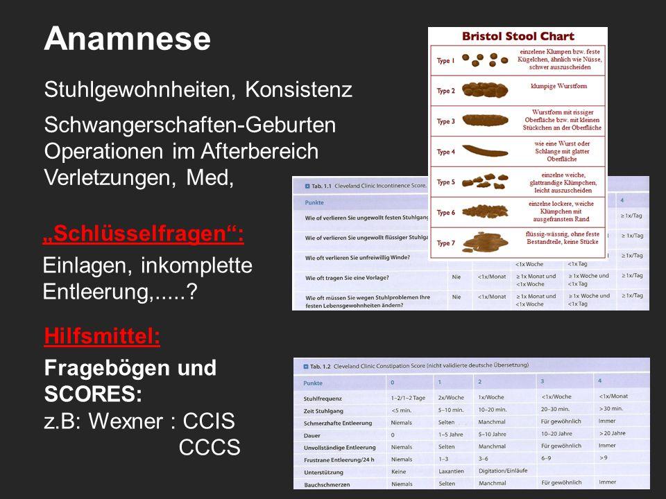Anamnese Stuhlgewohnheiten, Konsistenz Schwangerschaften-Geburten Operationen im Afterbereich Verletzungen, Med, Hilfsmittel: Fragebögen und SCORES: z