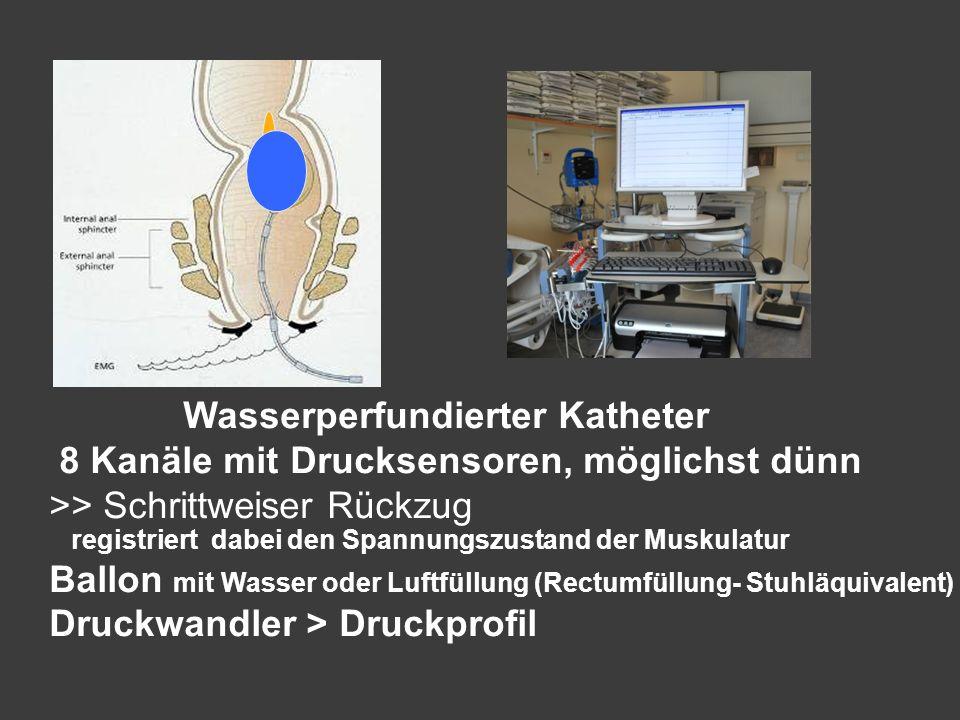 Wasserperfundierter Katheter 8 Kanäle mit Drucksensoren, möglichst dünn >> Schrittweiser Rückzug registriert dabei den Spannungszustand der Muskulatur
