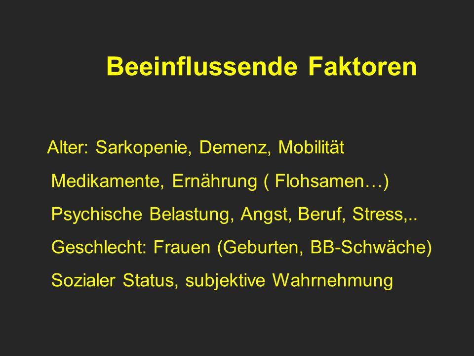 Beeinflussende Faktoren Alter: Sarkopenie, Demenz, Mobilität Medikamente, Ernährung ( Flohsamen…) Psychische Belastung, Angst, Beruf, Stress,.. Geschl