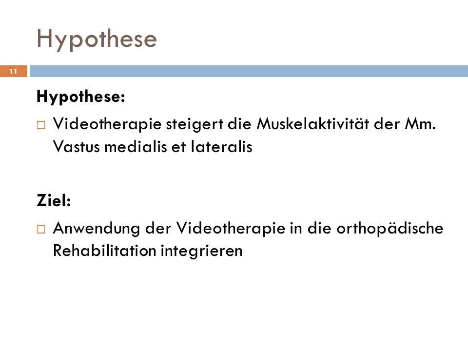 Hypothese Hypothese:  Videotherapie steigert die Muskelaktivität der Mm. Vastus medialis et lateralis Ziel:  Anwendung der Videotherapie in die orth