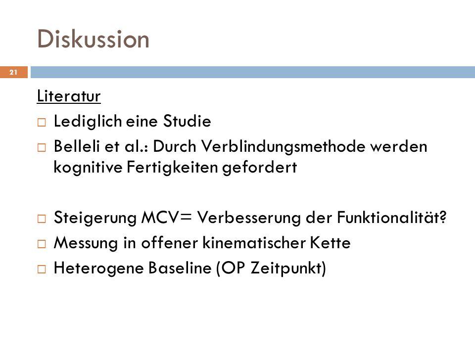 Diskussion 21 Literatur  Lediglich eine Studie  Belleli et al.: Durch Verblindungsmethode werden kognitive Fertigkeiten gefordert  Steigerung MCV= Verbesserung der Funktionalität.