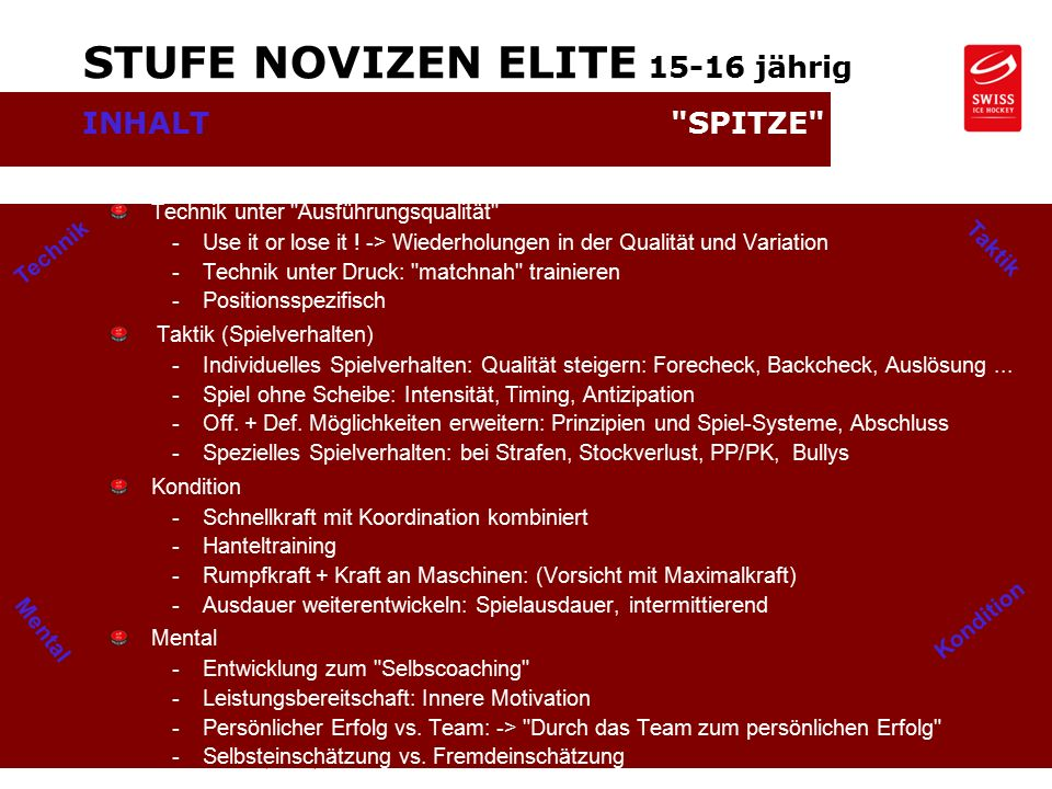 Oktober 09 / Juni 12 - Seite 7 © SWISS ICE HOCKEY - Markus Graf, Development Technik Kondition STUFE NOVIZEN ELITE jährig INHALT SPITZE Technik unter Ausführungsqualität -Use it or lose it .