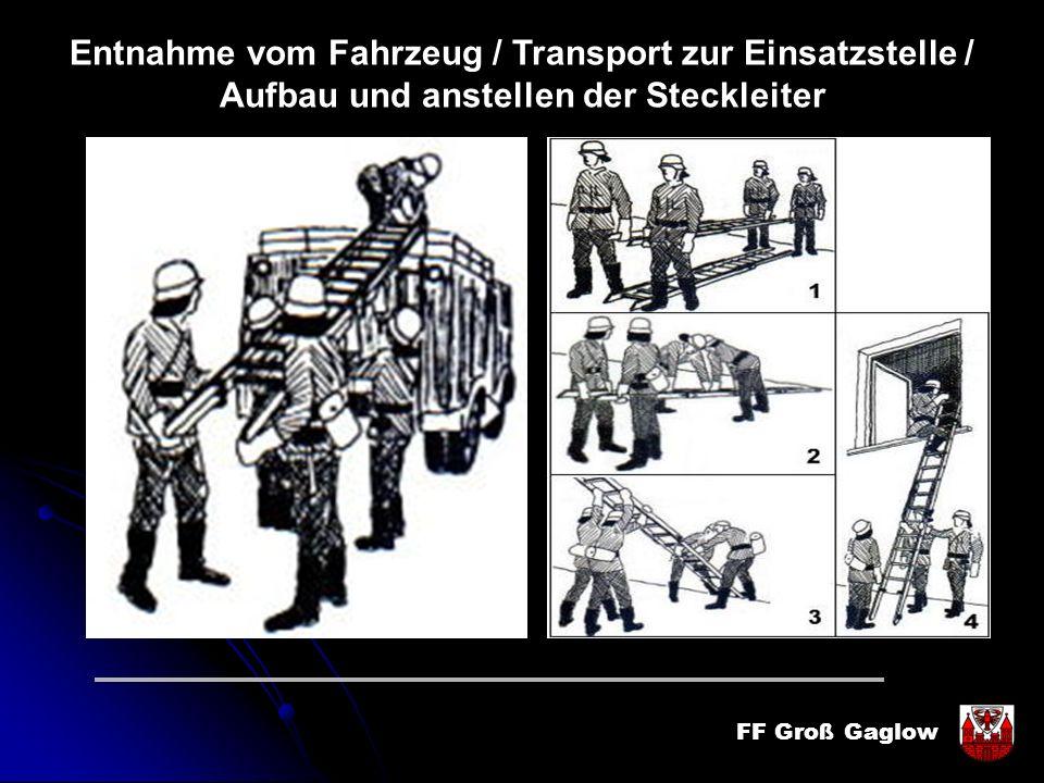 FF Groß Gaglow Entnahme vom Fahrzeug / Transport zur Einsatzstelle / Aufbau und anstellen der Steckleiter