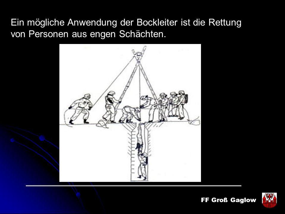 FF Groß Gaglow Ein mögliche Anwendung der Bockleiter ist die Rettung von Personen aus engen Schächten.