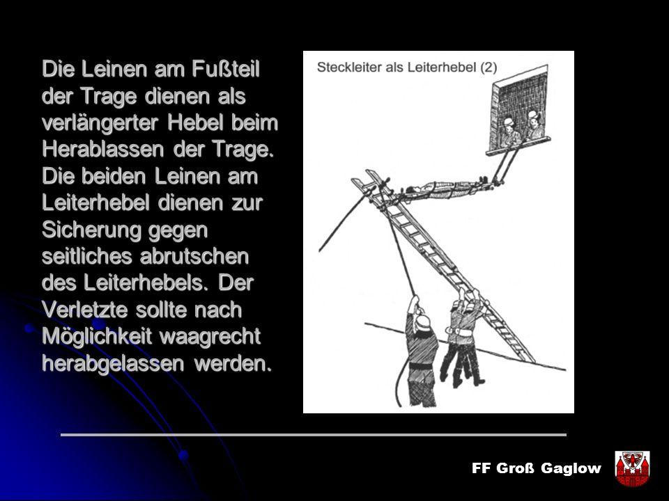 FF Groß Gaglow Die Leinen am Fußteil der Trage dienen als verlängerter Hebel beim Herablassen der Trage. Die beiden Leinen am Leiterhebel dienen zur S
