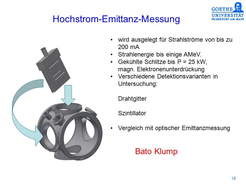18 Hochstrom-Emittanz-Messung wird ausgelegt für Strahlströme von bis zu 200 mA Strahlenergie bis einige AMeV. Gekühlte Schlitze bis P = 25 kW, magn.
