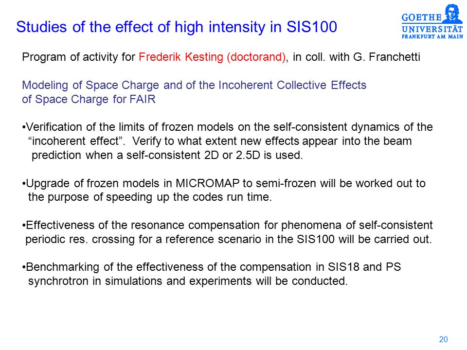 20 Studies of the effect of high intensity in SIS100 Program of activity for Frederik Kesting (doctorand), in coll.