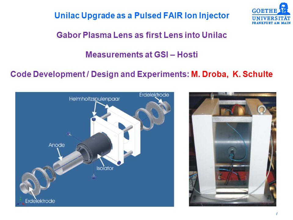 18 Hochstrom-Emittanz-Messung wird ausgelegt für Strahlströme von bis zu 200 mA Strahlenergie bis einige AMeV.
