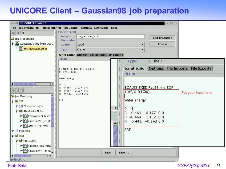  Hier klicken, um Master-Textformat zu bearbeiten.  Zweite Ebene GGF7 5/03/2003Piotr Bała10 UNICORE Client