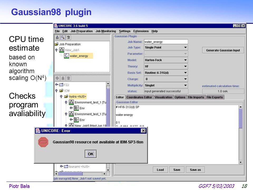  Hier klicken, um Master-Textformat zu bearbeiten.  Zweite Ebene GGF7 5/03/2003Piotr Bała17 Gaussian98 plugin Input preparation reads existing input