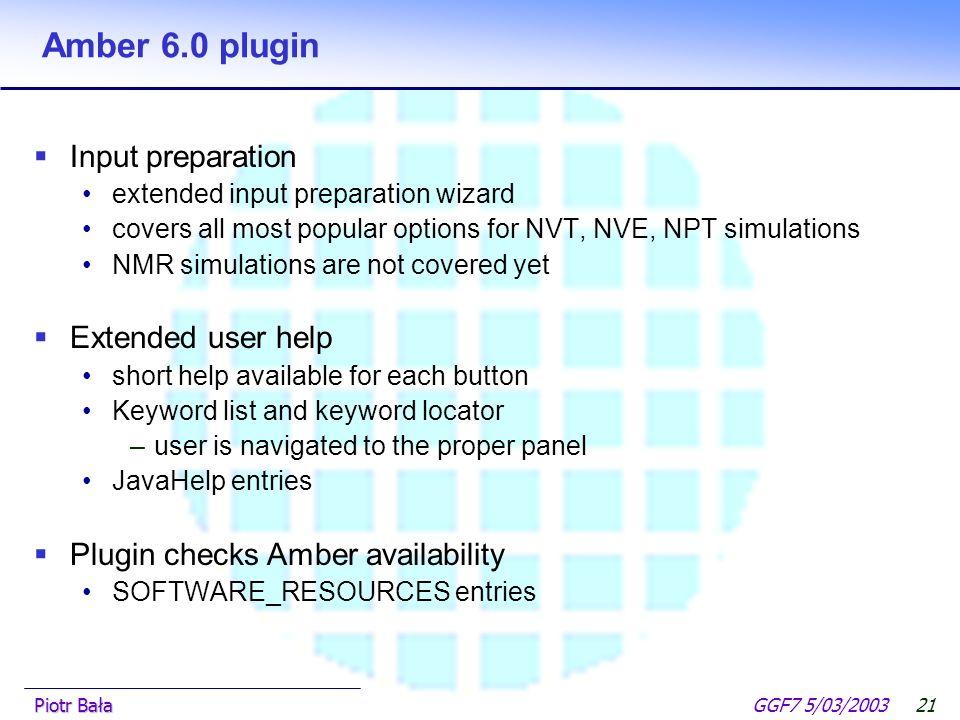  Hier klicken, um Master-Textformat zu bearbeiten.  Zweite Ebene GGF7 5/03/2003Piotr Bała20 Gaussian98 plugin Output