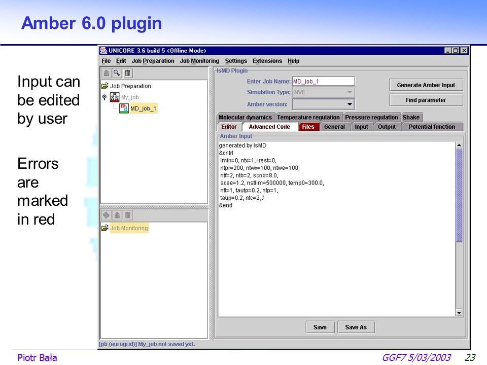  Hier klicken, um Master-Textformat zu bearbeiten.  Zweite Ebene GGF7 5/03/2003Piotr Bała22 Amber 6.0 plugin Input preparation