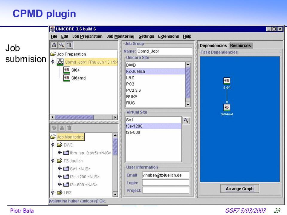  Hier klicken, um Master-Textformat zu bearbeiten.  Zweite Ebene GGF7 5/03/2003Piotr Bała28 CPMD plugin CPMD wizard Atomic type editor