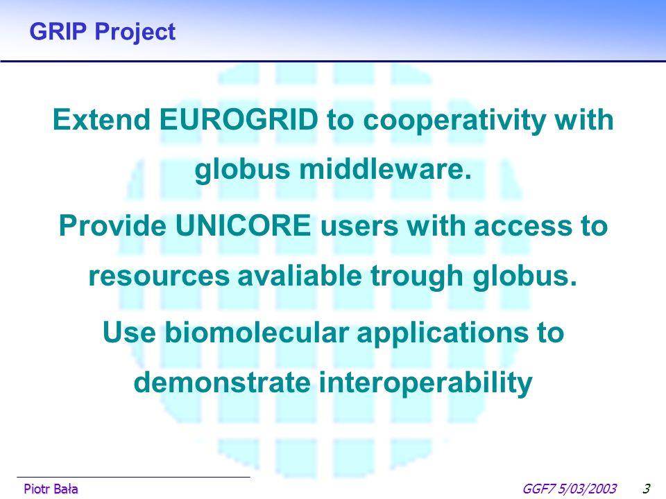  Hier klicken, um Master-Textformat zu bearbeiten.  Zweite Ebene GGF7 5/03/2003Piotr Bała2 EUROGRID Vision Build a European Grid infrastructure that