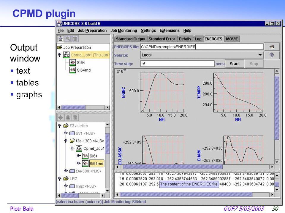  Hier klicken, um Master-Textformat zu bearbeiten.  Zweite Ebene GGF7 5/03/2003Piotr Bała29 CPMD plugin Job submision