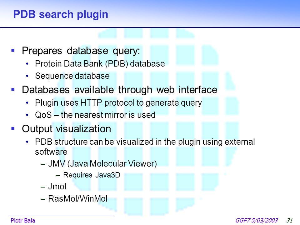  Hier klicken, um Master-Textformat zu bearbeiten.  Zweite Ebene GGF7 5/03/2003Piotr Bała30 CPMD plugin Output window  text  tables  graphs