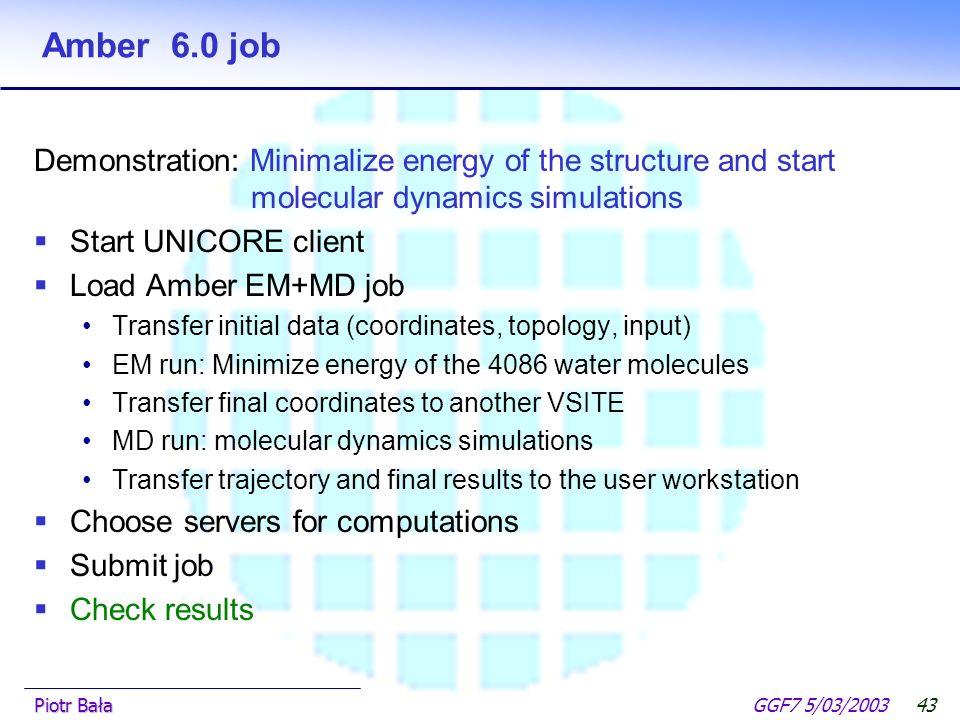  Hier klicken, um Master-Textformat zu bearbeiten.  Zweite Ebene GGF7 5/03/2003Piotr Bała42 Gaussian98 job Demonstration: Calculate quantum chemical