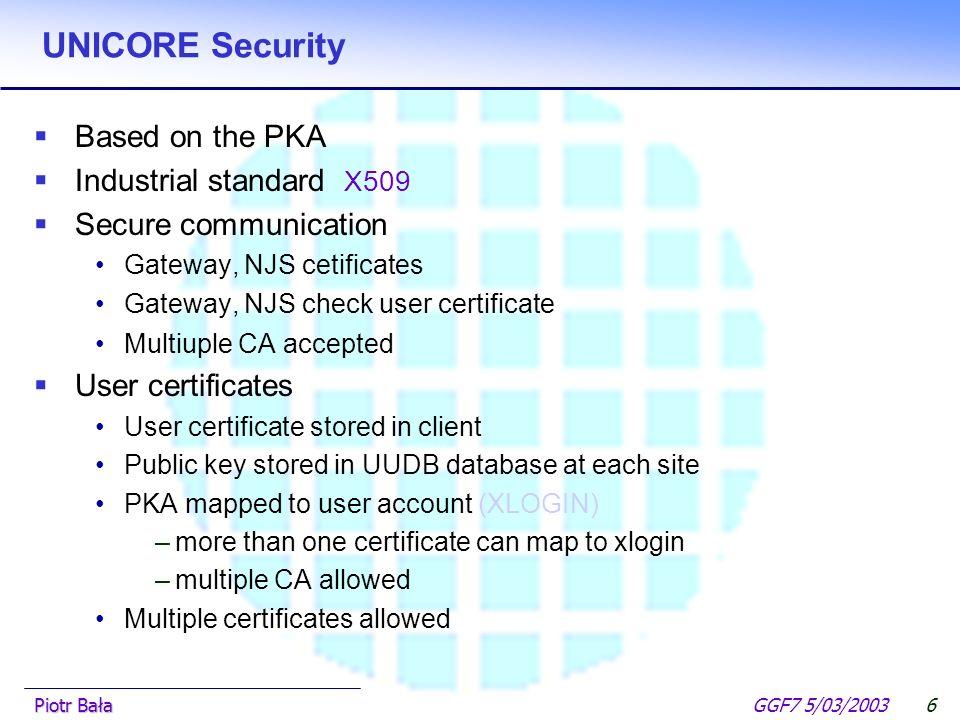  Hier klicken, um Master-Textformat zu bearbeiten.  Zweite Ebene GGF7 5/03/2003Piotr Bała5 UNICORE architecture UNICORE Client UNICORE Gateway A UNI