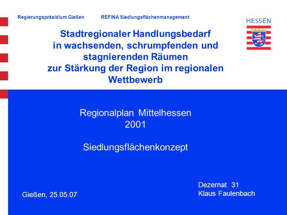 Regierungspräsidium Gießen Gießen, 25.05.07 Stadtregionaler Handlungsbedarf in wachsenden, schrumpfenden und stagnierenden Räumen zur Stärkung der Reg