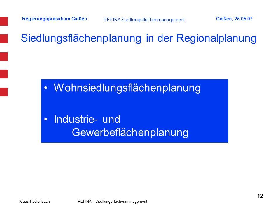 Regierungspräsidium GießenGießen, 25.05.07 Klaus Faulenbach REFINA Siedlungsflächenmanagement 12 Siedlungsflächenplanung in der Regionalplanung Wohnsi
