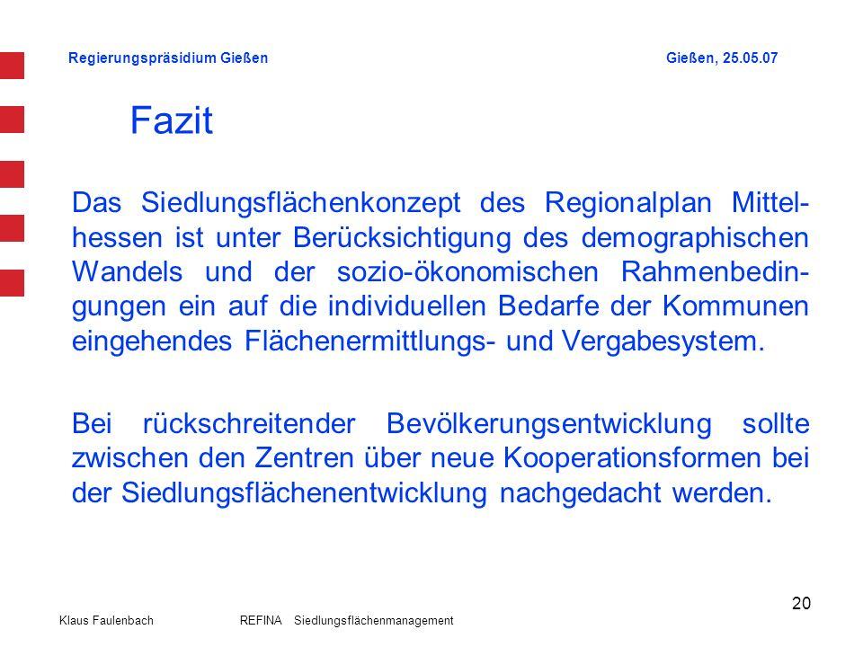 Regierungspräsidium GießenGießen, 25.05.07 Klaus Faulenbach REFINA Siedlungsflächenmanagement 20 Fazit Das Siedlungsflächenkonzept des Regionalplan Mi