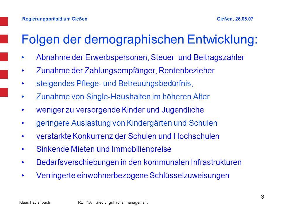 Regierungspräsidium GießenGießen, 25.05.07 Klaus Faulenbach REFINA Siedlungsflächenmanagement 14 Siedlungskonzeption Regionalplan Mittelhessen 2001 13.257 6.605 73.958 7.596 12.132 12.172 10.110 18.043 8.307 12.546 Bevölke- rungs- stand 31.12.2006