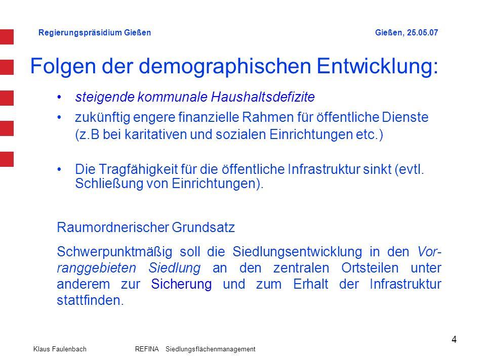 Regierungspräsidium GießenGießen, 25.05.07 Klaus Faulenbach REFINA Siedlungsflächenmanagement 4 Folgen der demographischen Entwicklung: steigende komm