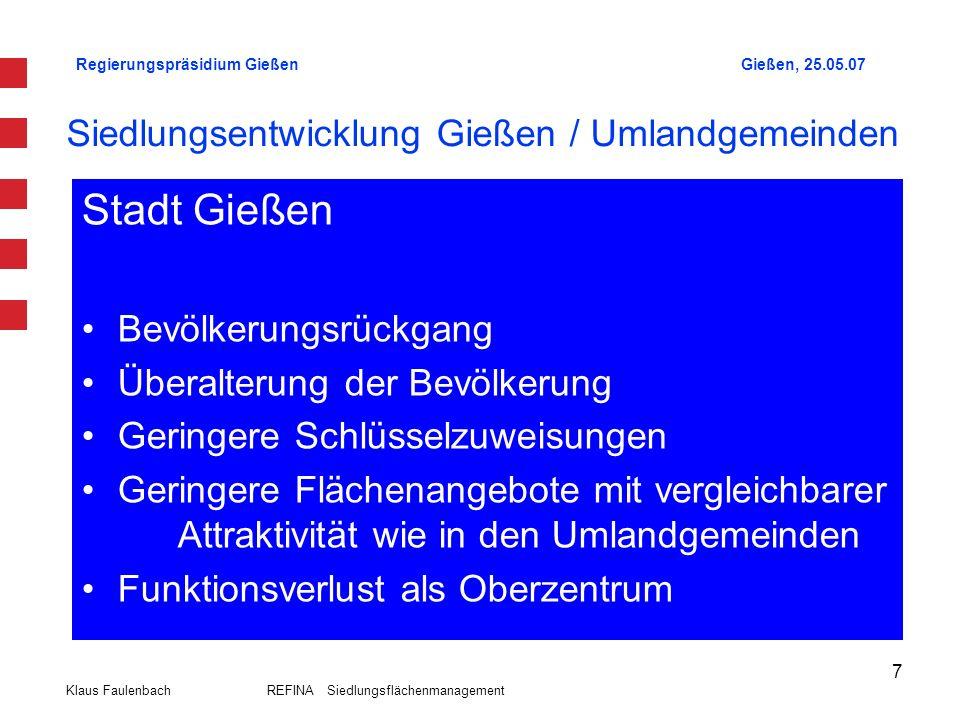 Regierungspräsidium GießenGießen, 25.05.07 Klaus Faulenbach REFINA Siedlungsflächenmanagement 8 Siedlungskonzeption Regionalplan Mittelhessen 2001 Wohn- und Mischbauflächen in B-Plänen (01.01.1993 - Mai 2007) in Gießen und Nachbargemeinden (lt.