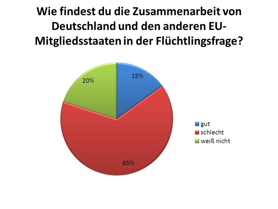 Wie findest du die Zusammenarbeit von Deutschland und den anderen EU- Mitgliedsstaaten in der Flüchtlingsfrage