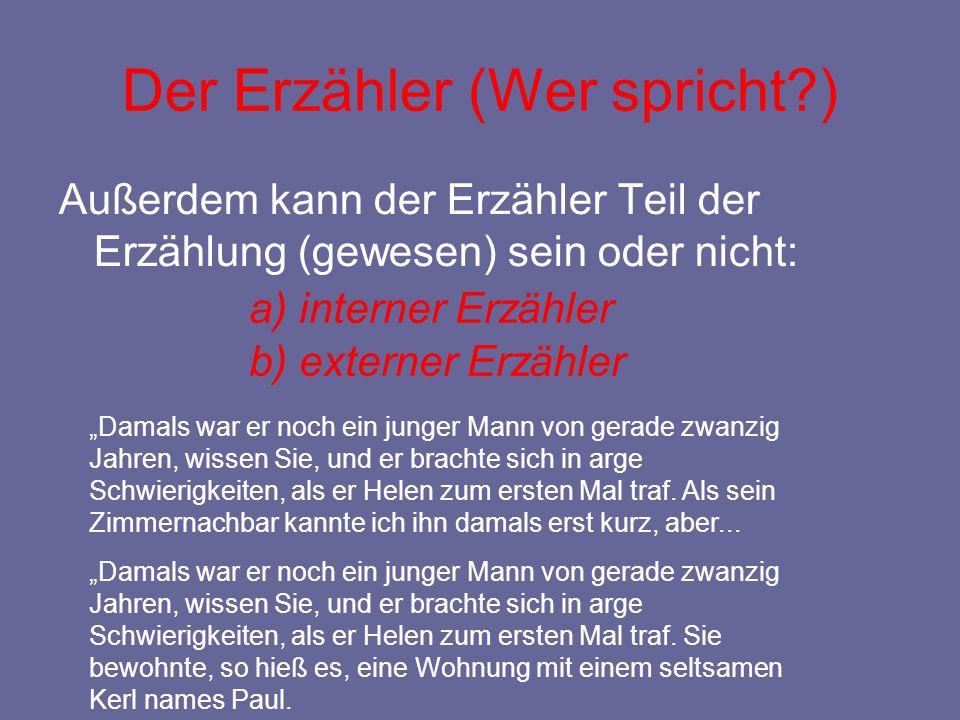 """Außerdem kann der Erzähler Teil der Erzählung (gewesen) sein oder nicht: Der Erzähler (Wer spricht?) a) interner Erzähler b) externer Erzähler """"Damals"""