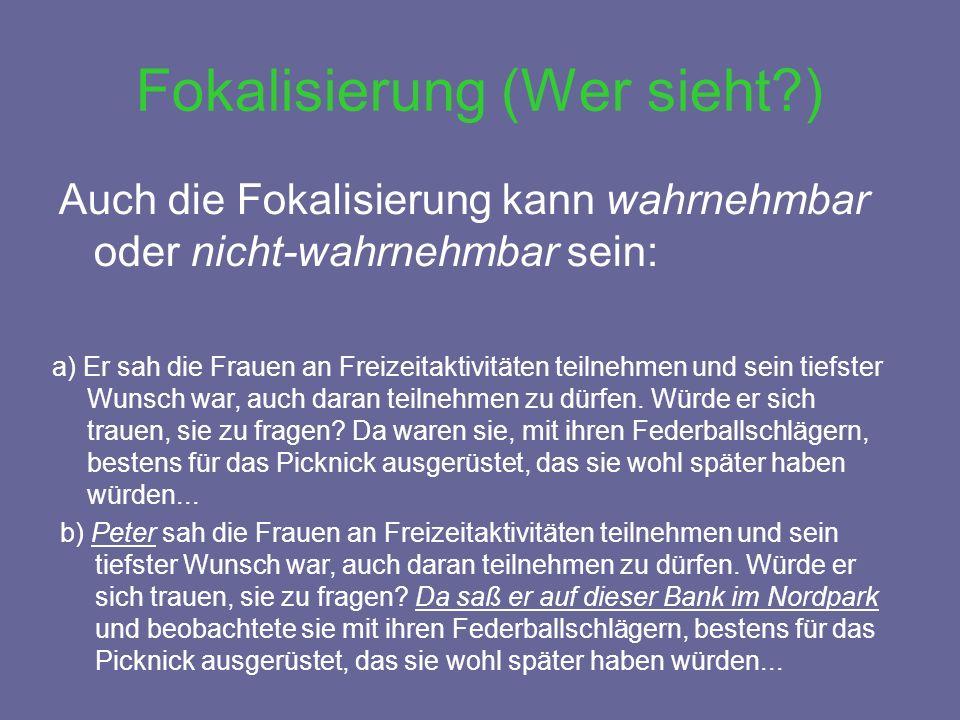 Auch die Fokalisierung kann wahrnehmbar oder nicht-wahrnehmbar sein: Fokalisierung (Wer sieht?) a) Er sah die Frauen an Freizeitaktivitäten teilnehmen