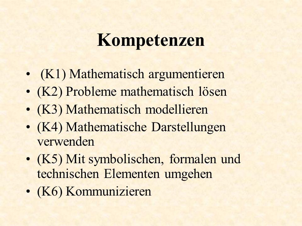 Kompetenzen (K1) Mathematisch argumentieren (K2) Probleme mathematisch lösen (K3) Mathematisch modellieren (K4) Mathematische Darstellungen verwenden (K5) Mit symbolischen, formalen und technischen Elementen umgehen (K6) Kommunizieren