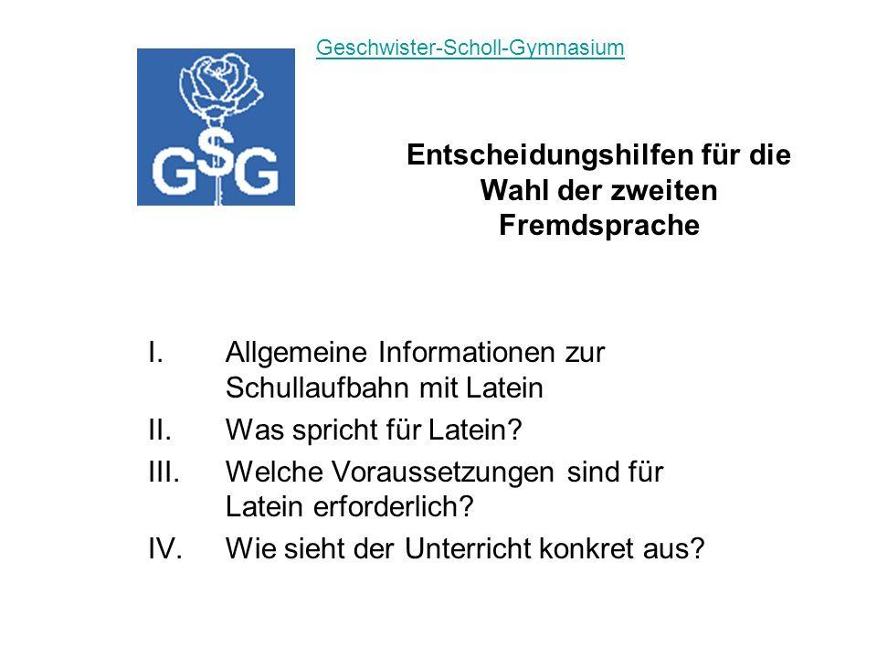 I.Allgemeine Informationen zur Schullaufbahn mit Latein II.Was spricht für Latein.