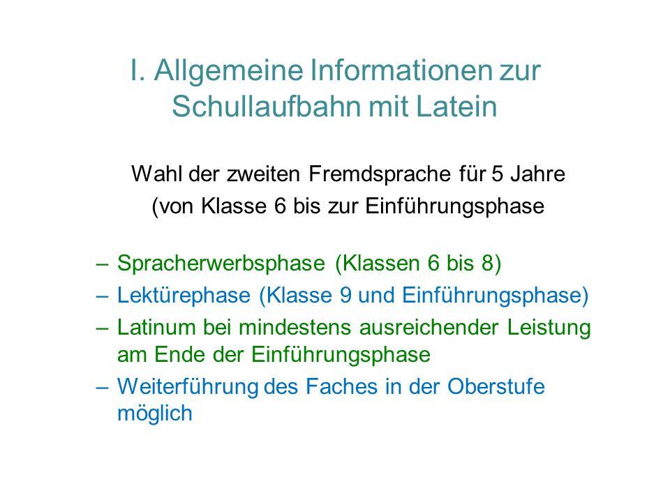 I. Allgemeine Informationen zur Schullaufbahn mit Latein Wahl der zweiten Fremdsprache für 5 Jahre (von Klasse 6 bis zur Einführungsphase –Spracherwer