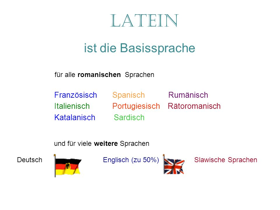 Latein ist die Basissprache Französisch Spanisch Rumänisch Italienisch Portugiesisch Rätoromanisch Katalanisch Sardisch und für viele weitere Sprachen für alle romanischen Sprachen Deutsch Englisch (zu 50%) Slawische Sprachen