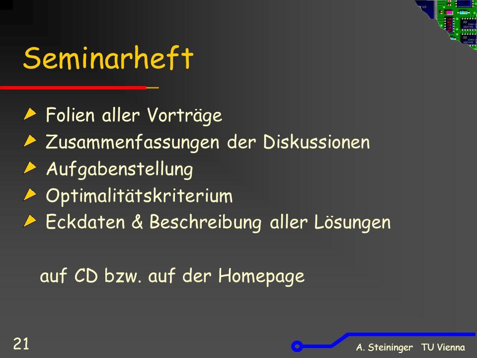 A. Steininger TU Vienna 21 Seminarheft Folien aller Vorträge Zusammenfassungen der Diskussionen Aufgabenstellung Optimalitätskriterium Eckdaten & Besc