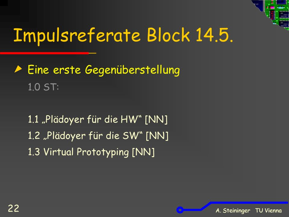 A. Steininger TU Vienna 22 Impulsreferate Block 14.5.