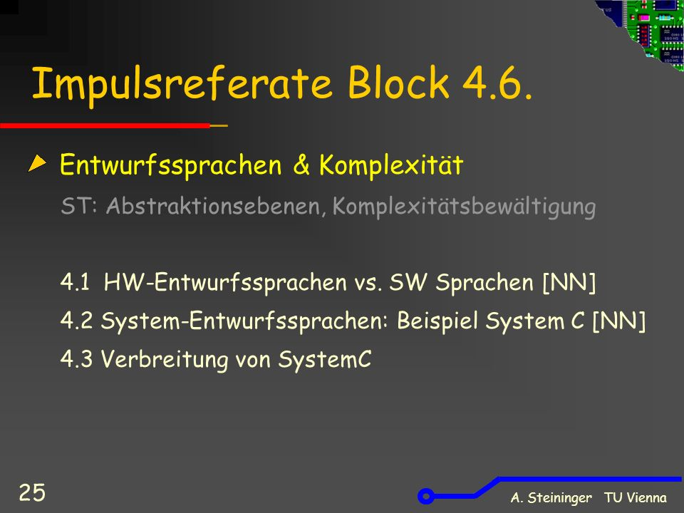 A. Steininger TU Vienna 25 Impulsreferate Block 4.6.