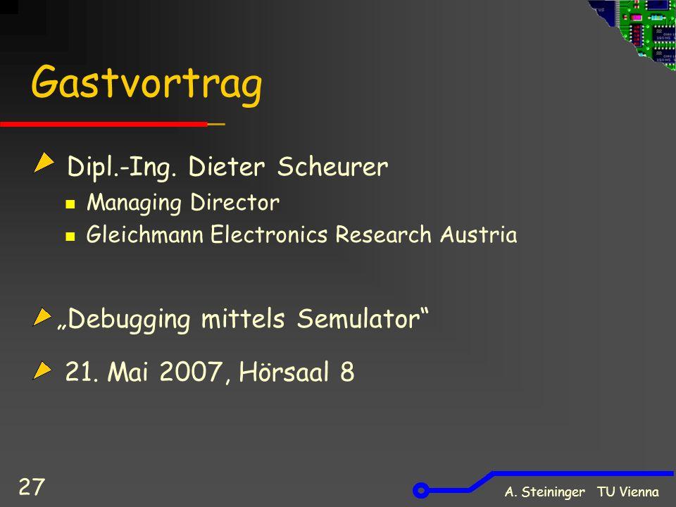 A. Steininger TU Vienna 27 Gastvortrag Dipl.-Ing.
