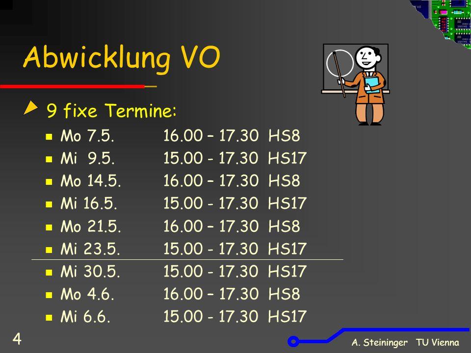 A. Steininger TU Vienna 4 Abwicklung VO 9 fixe Termine: Mo 7.5.16.00 – 17.30 HS8 Mi 9.5.15.00 - 17.30 HS17 Mo 14.5. 16.00 – 17.30 HS8 Mi 16.5.15.00 -