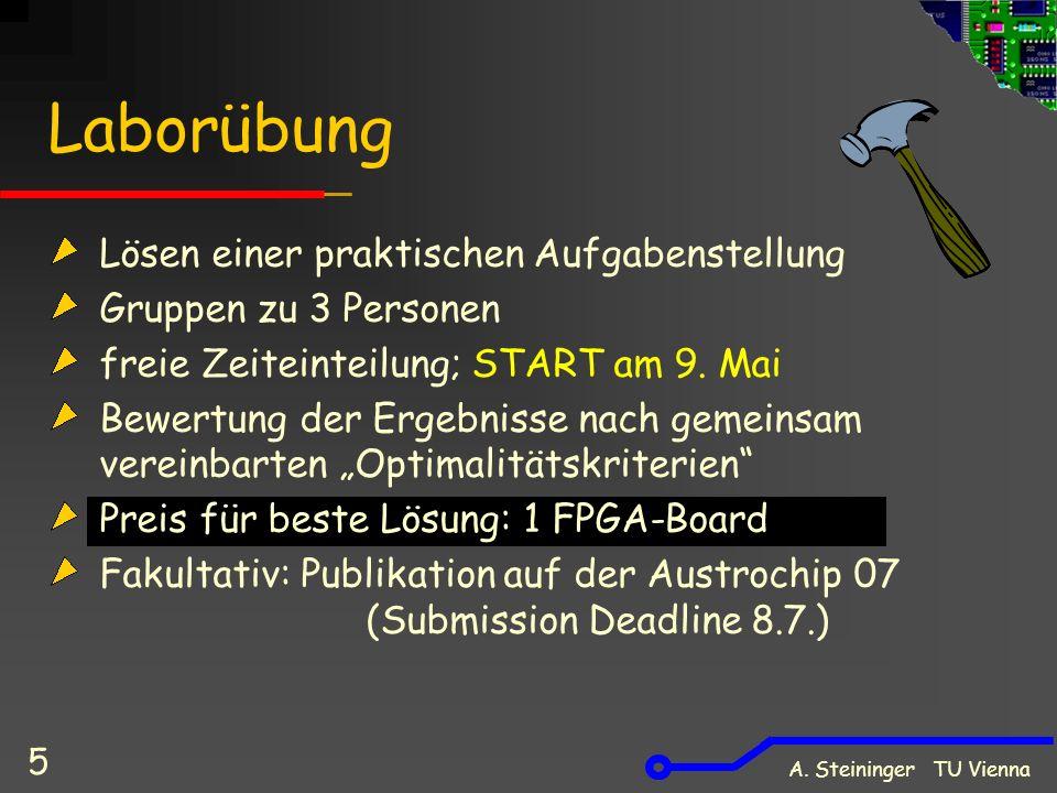 A. Steininger TU Vienna 5 Laborübung Lösen einer praktischen Aufgabenstellung Gruppen zu 3 Personen freie Zeiteinteilung; START am 9. Mai Bewertung de
